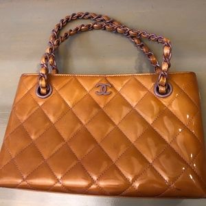 Chanel Small Orange Pink Patent Leather Satchel